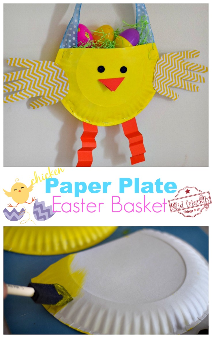paper basket craft diy paper plate chicken easter basket craft for 2608