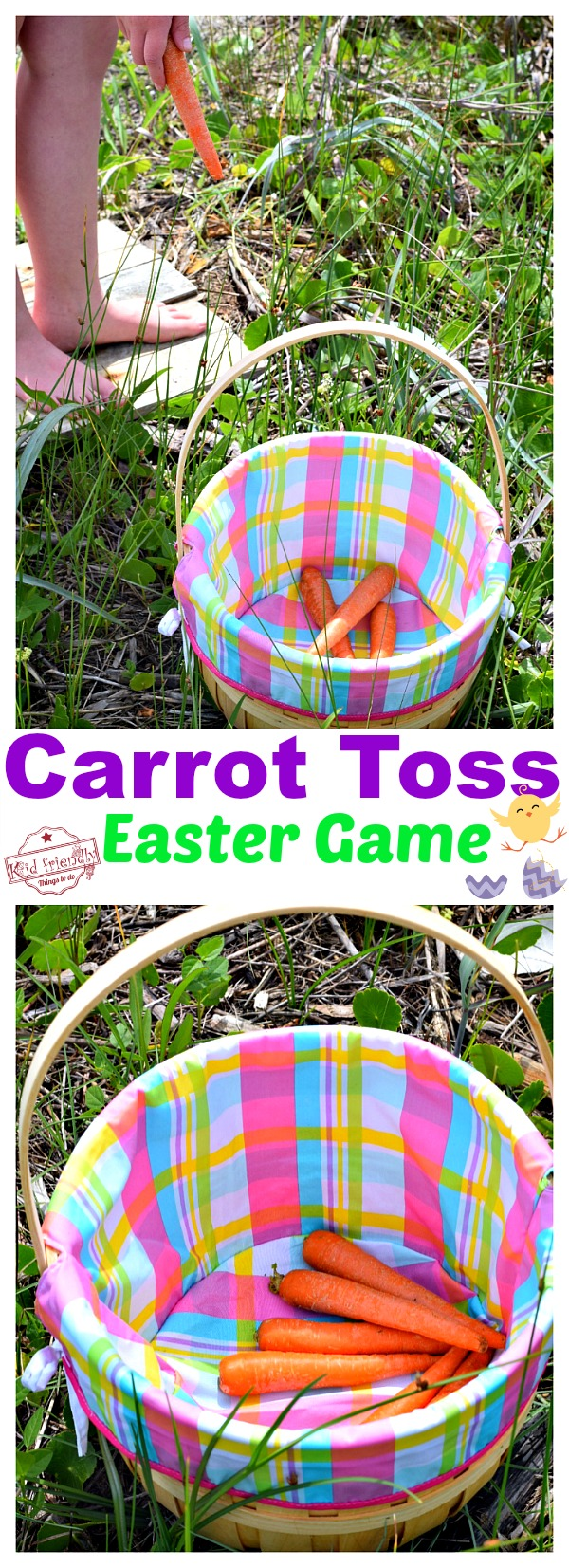 Play this fun Carrot Toss Game - An Easy Easter Game to Play and even easier to set up. It's perfect for family, kids, preschool or even church games! www.kidfriendlythingstodo.com