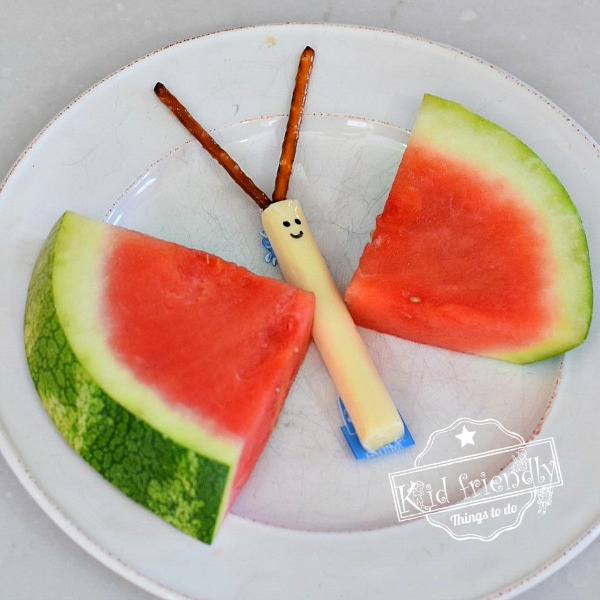Watermelon and Cheese Stick Butterfly snack for kids