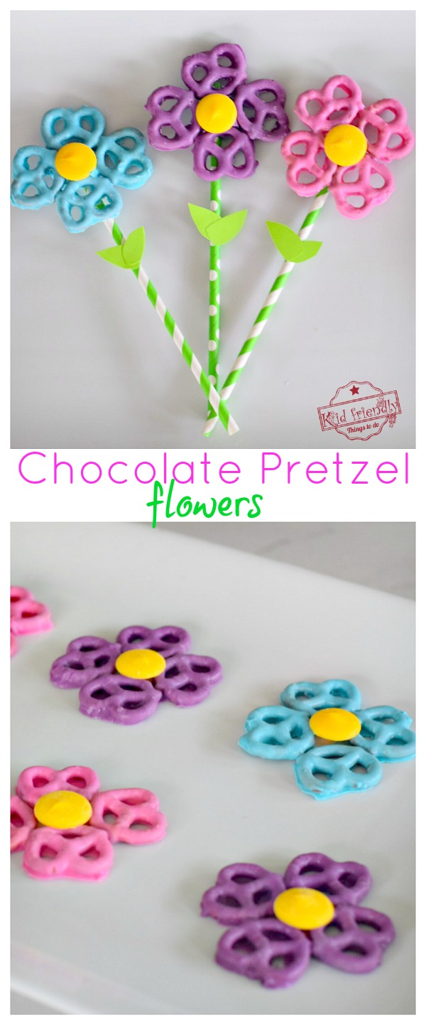 Chocolate Covered Pretzel Flowers for Mother's Day