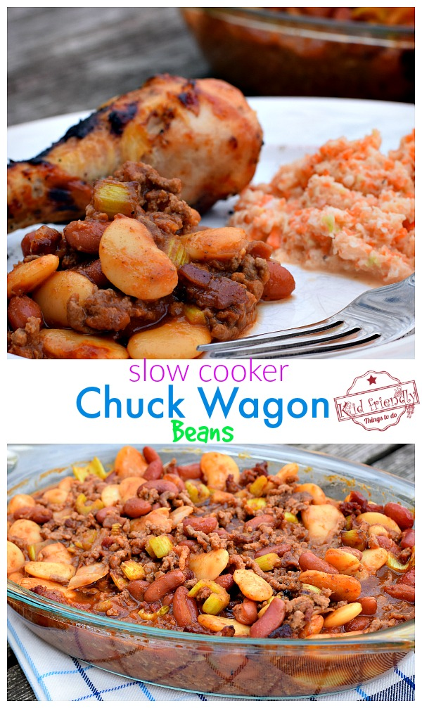 Collage of Slow Cooker Baked Beans with Bacon and Beef