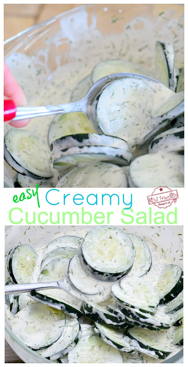Cream Cucumber Salad Recipe with Sour Cream, Mayo and Dill - www.kidfriendlythingstodo.com