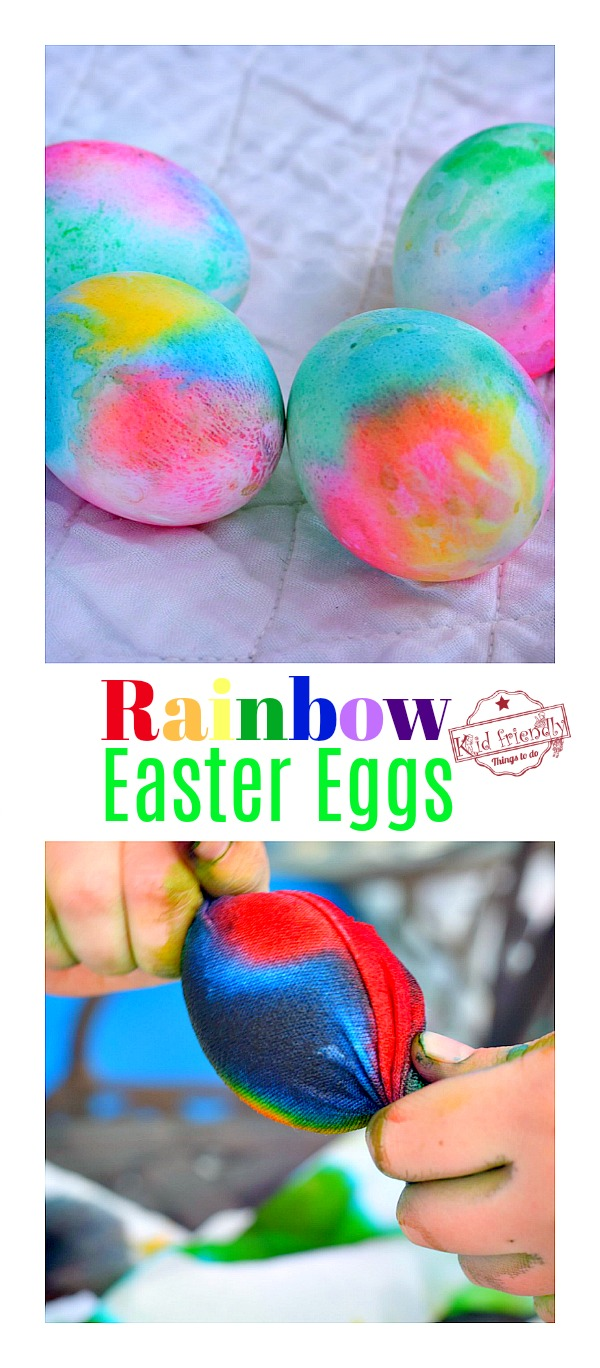 Twist cotton fabric soaked with food coloring around and egg for a beautiful Rainbow Easter Egg Dye Project