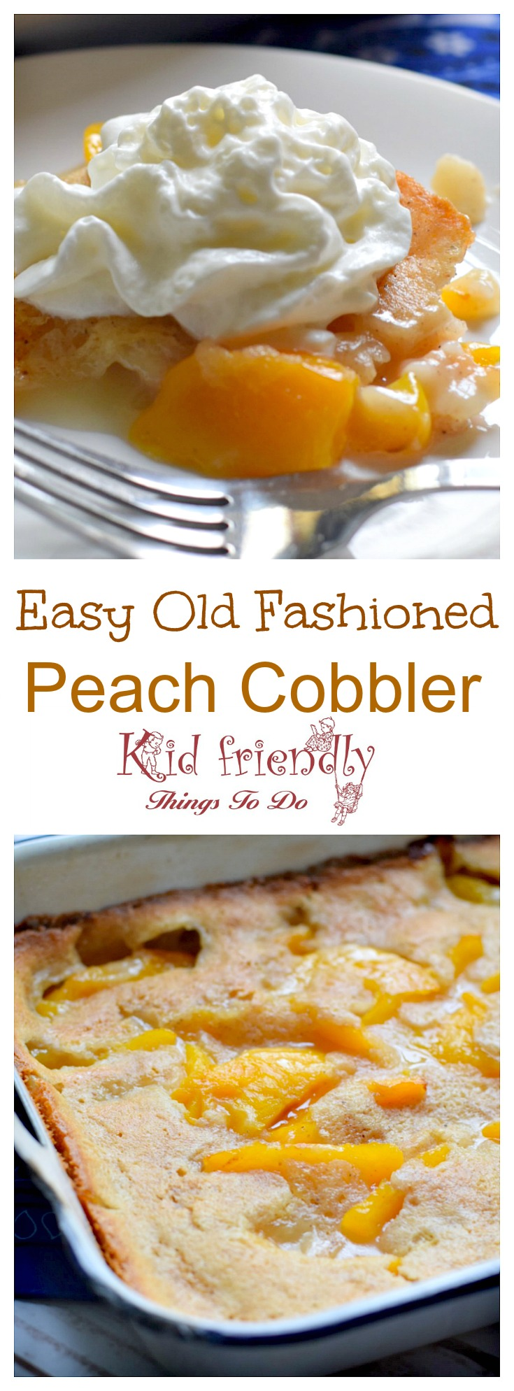 Peach Cobbler Recipe with Whipped Cream Topping