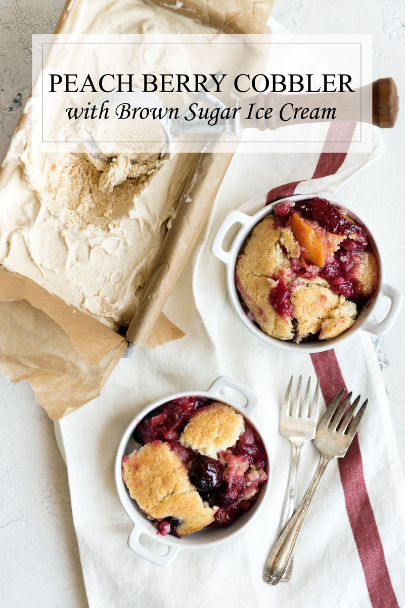 Mixed Fruit Cobbler with Ice Cream
