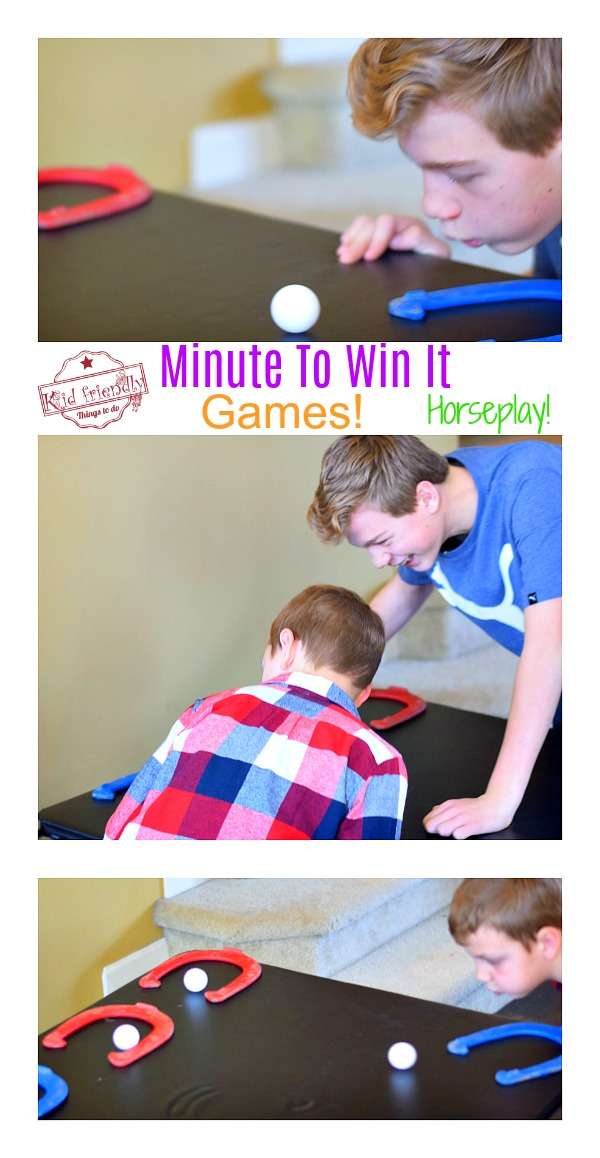 kids playing a minute to win it game - horseplay