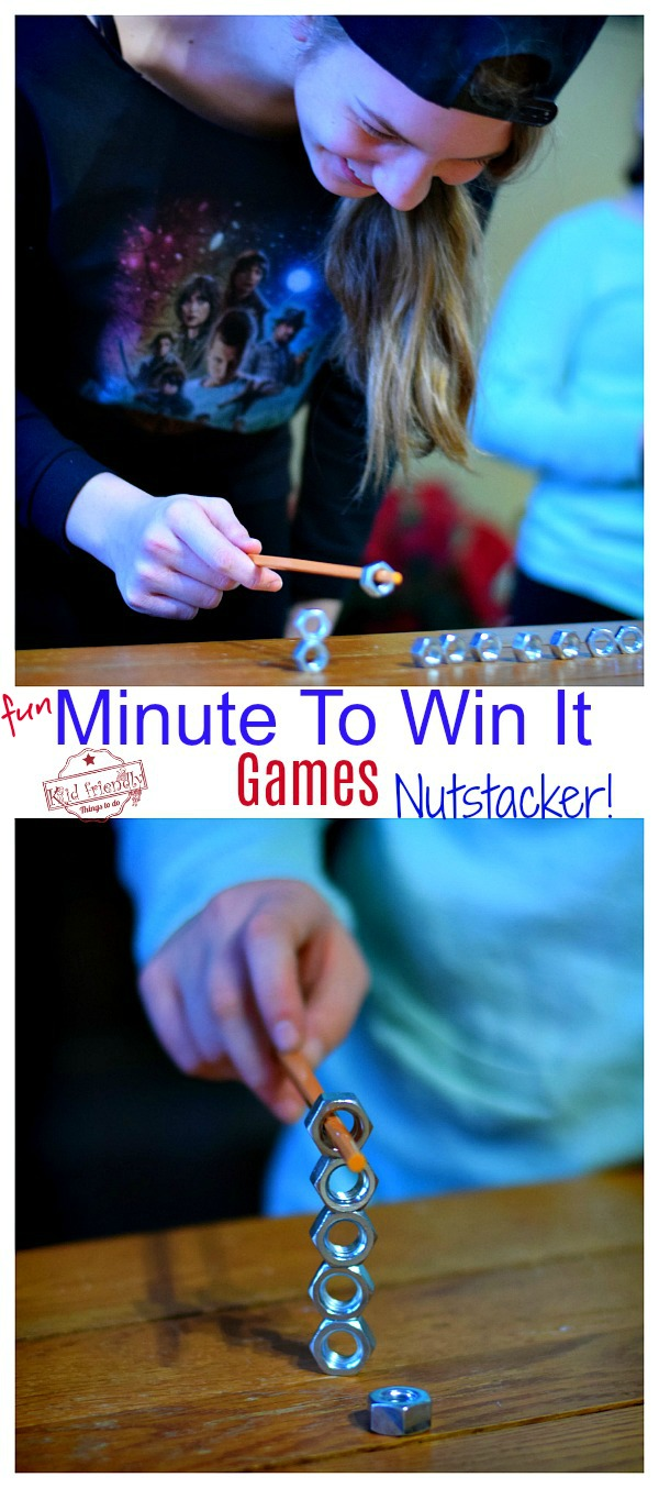 kids Playing Nutstacker a Minute to Win It Game