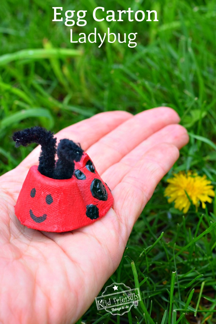 Ladybug Craft Idea using Recycled Egg Carton