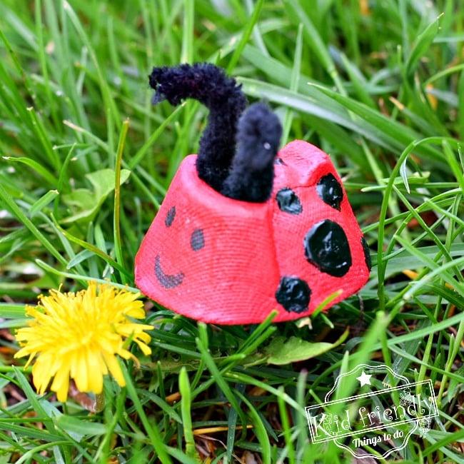 Ladybug Craft Idea Using Recycled Egg Cartons