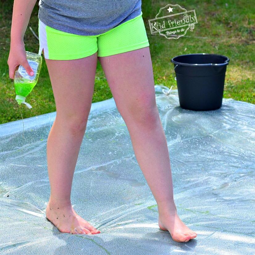 Making a soapy slip n slide