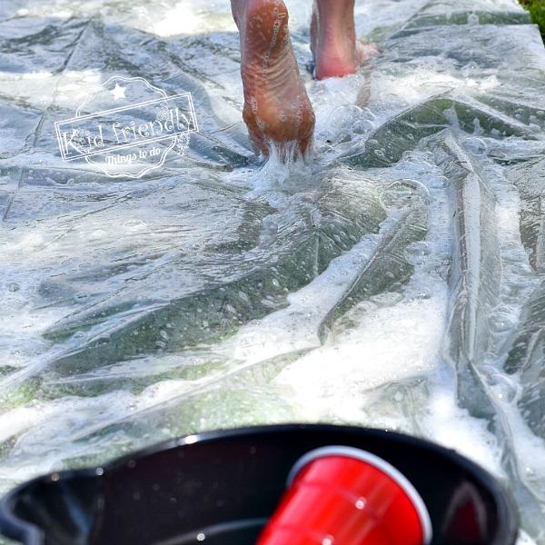 Playing an fun outdoor summer water game