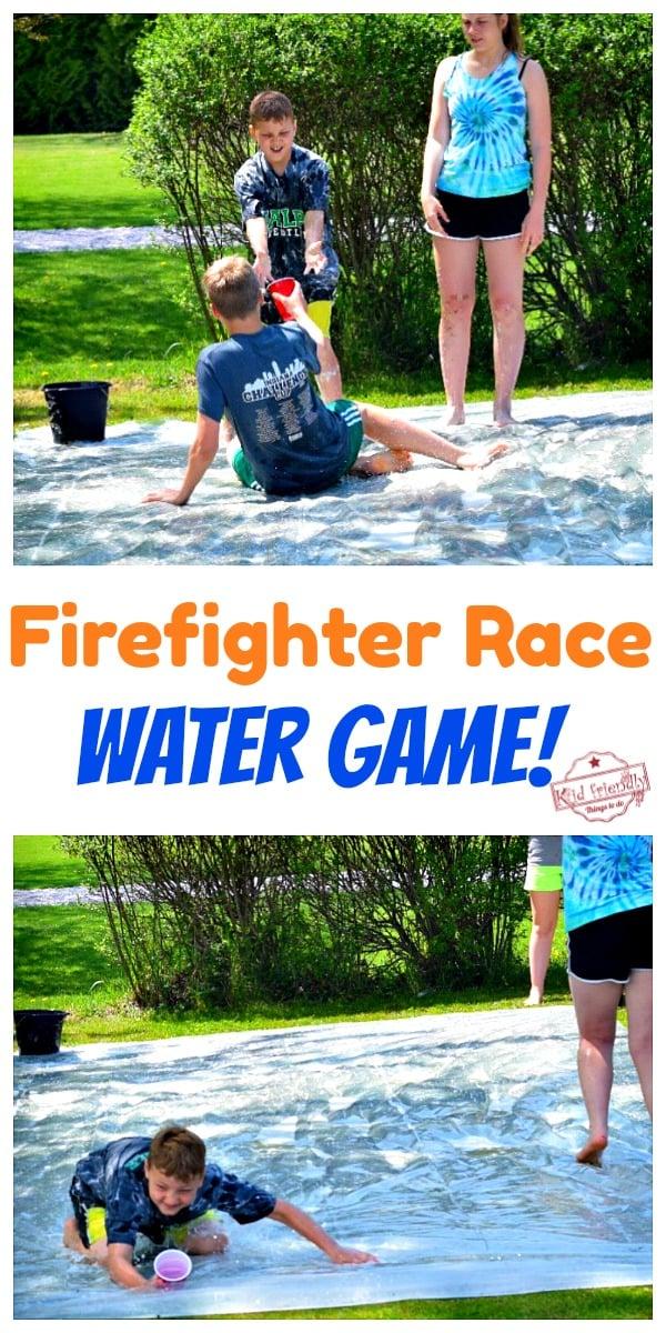 kids play a Fun outdoor summer water game
