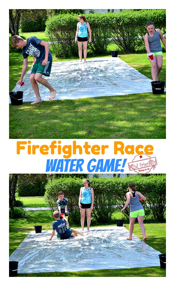 kids playing a summer water game relay race