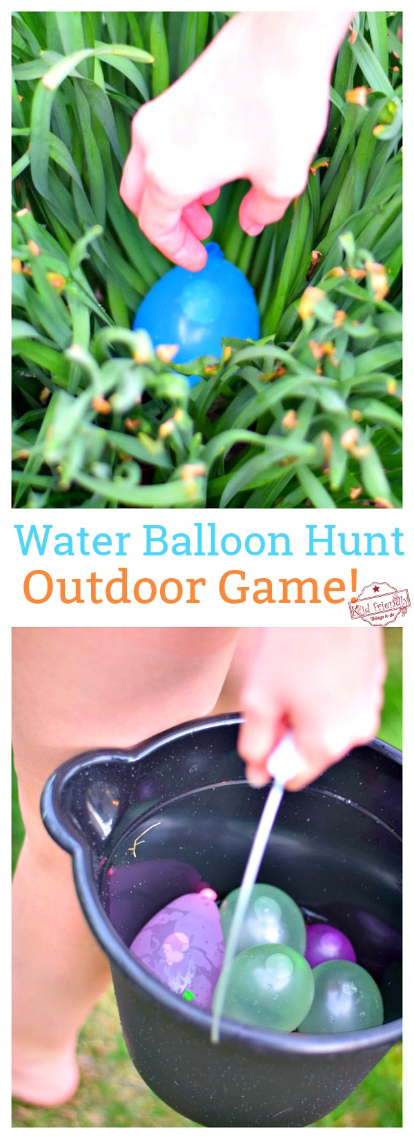 Playing Water Balloon Hunt a fun outdoor game for kids