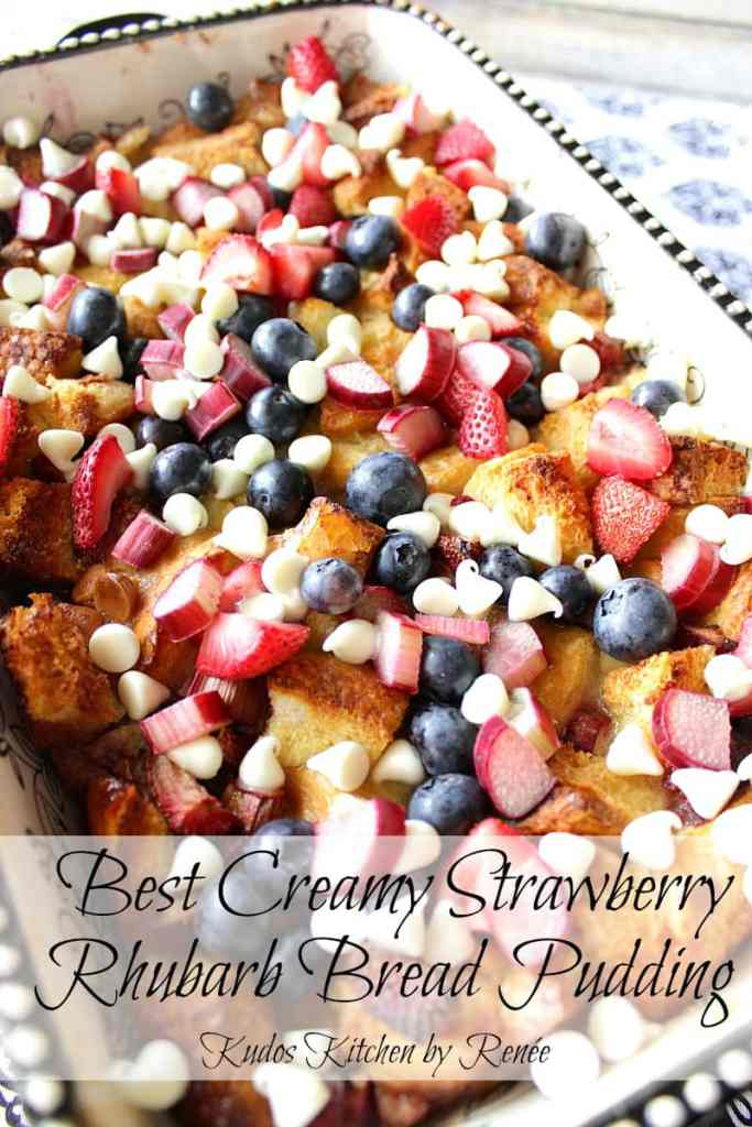 Patriotic Bread Pudding Dessert Red White and Blue