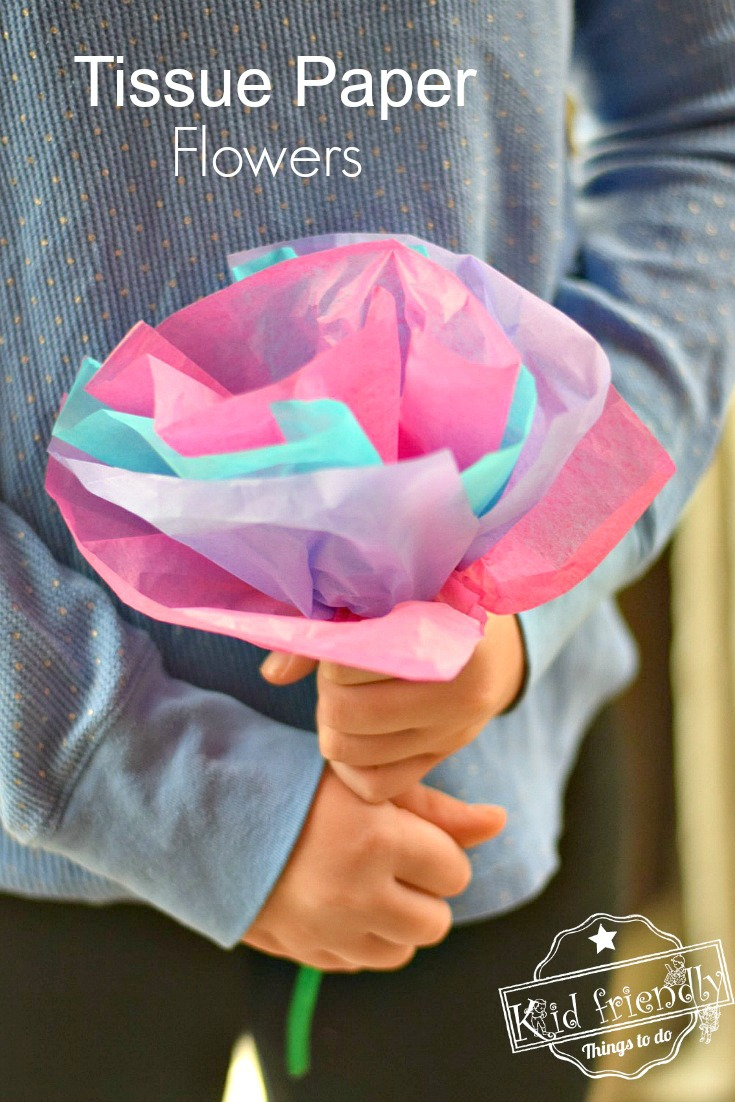 Diy tissue paper flowers for kids to make with pipe cleaners tissue paper flowers diy mightylinksfo