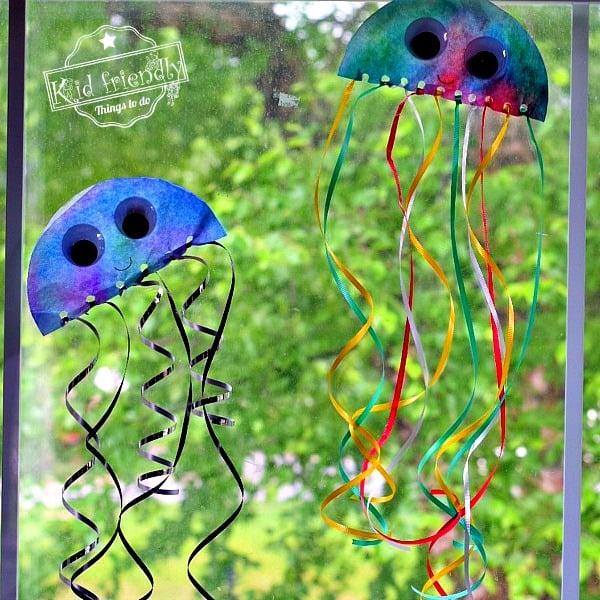 Coffee Filter Jellyfish Sun Catcher An Easy Ocean Craft for Kids