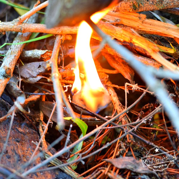 Cotton Ball Fire Starter burning in campfire