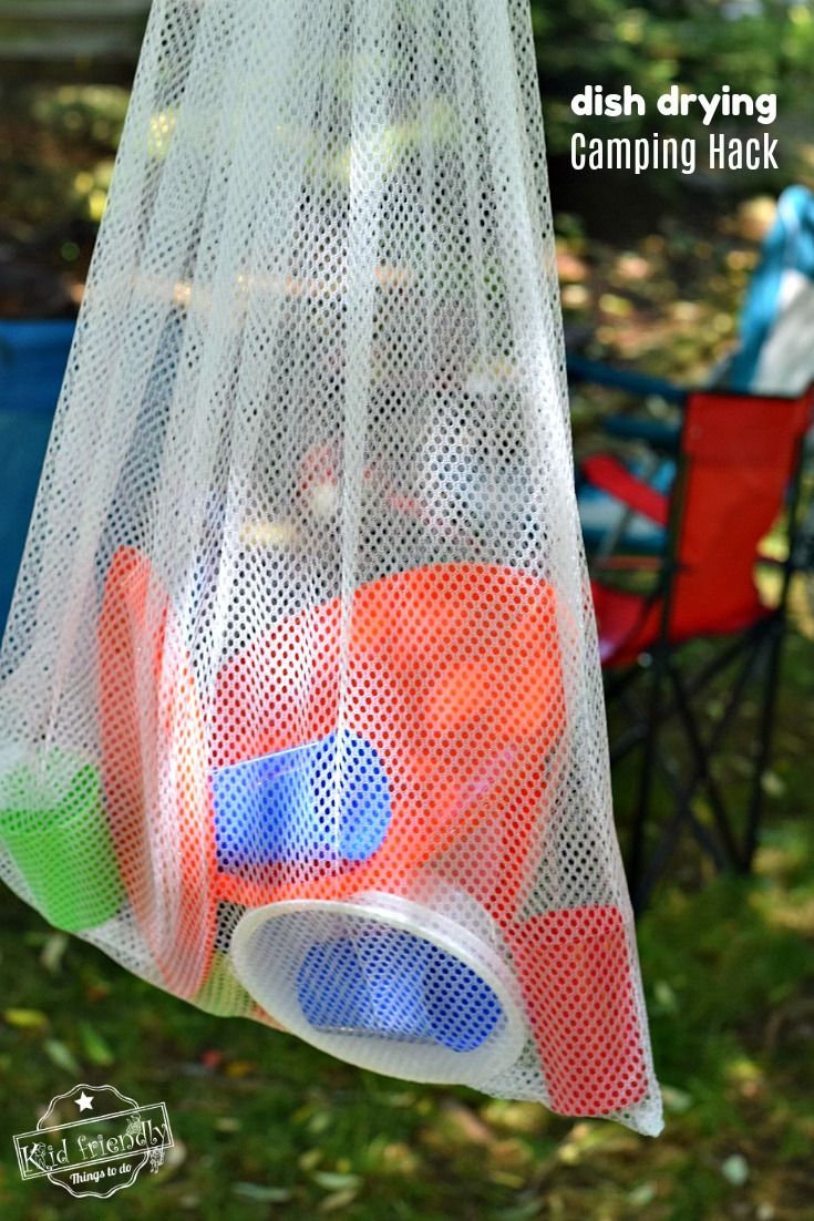 Air Dry Dishes Camping Hack for camping with kids