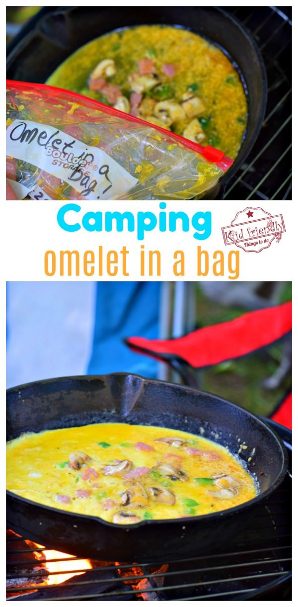 Making omelets over campfire from a bag