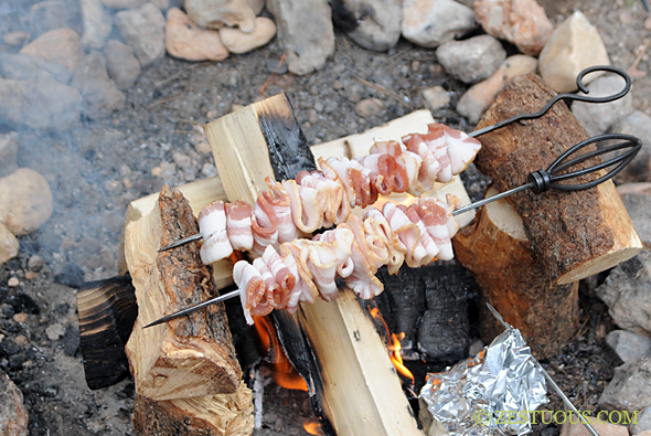 Cooking bacon while camping hack