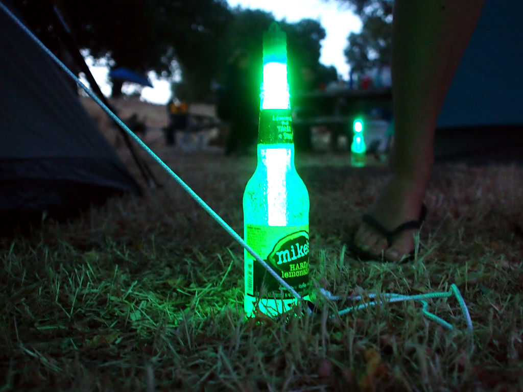 Camping hack to prevent tripping over tent stakes