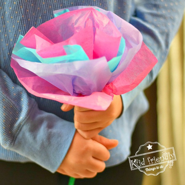 DIY Tissue Paper Flowers For Kids to Make | Kid Friendly Things To Do