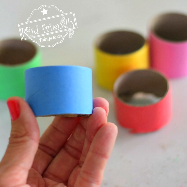 Colorful tubes for caterpillar craft