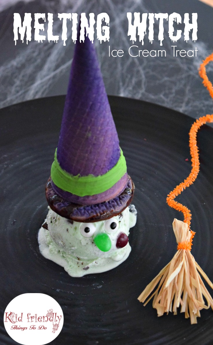Halloween Fun Food Idea Melting Witch Ice Cream treat