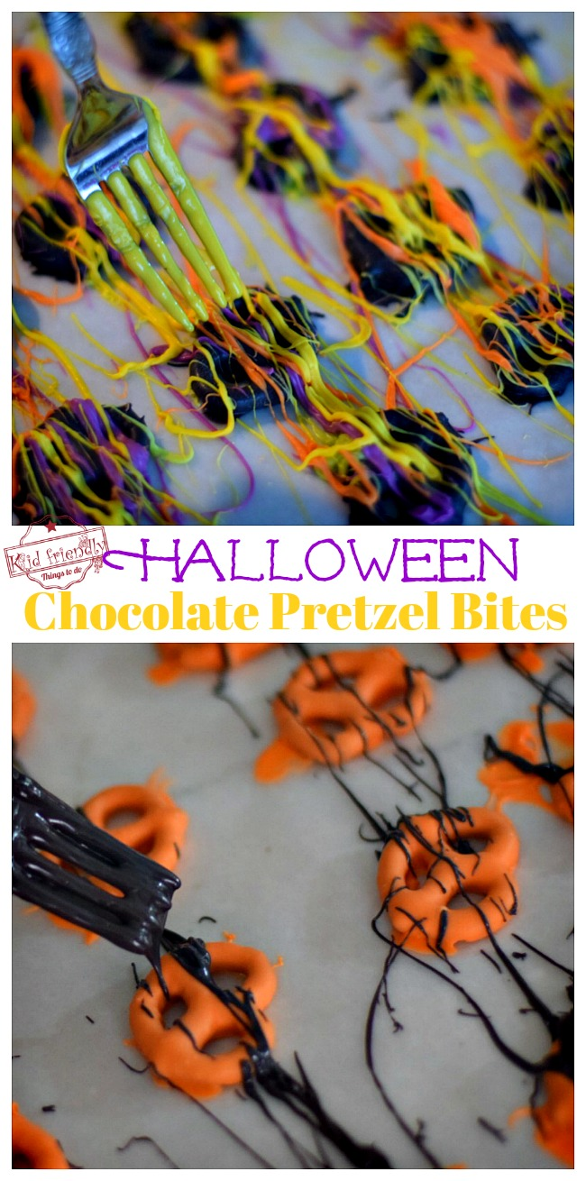 Decorating Halloween Chocolate Covered Pretzel Bites