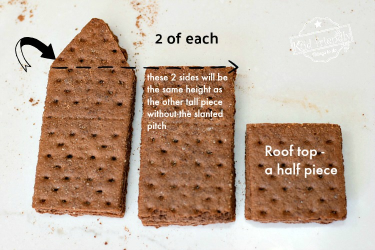 Showing how to cut the graham cracker for graham cracker house