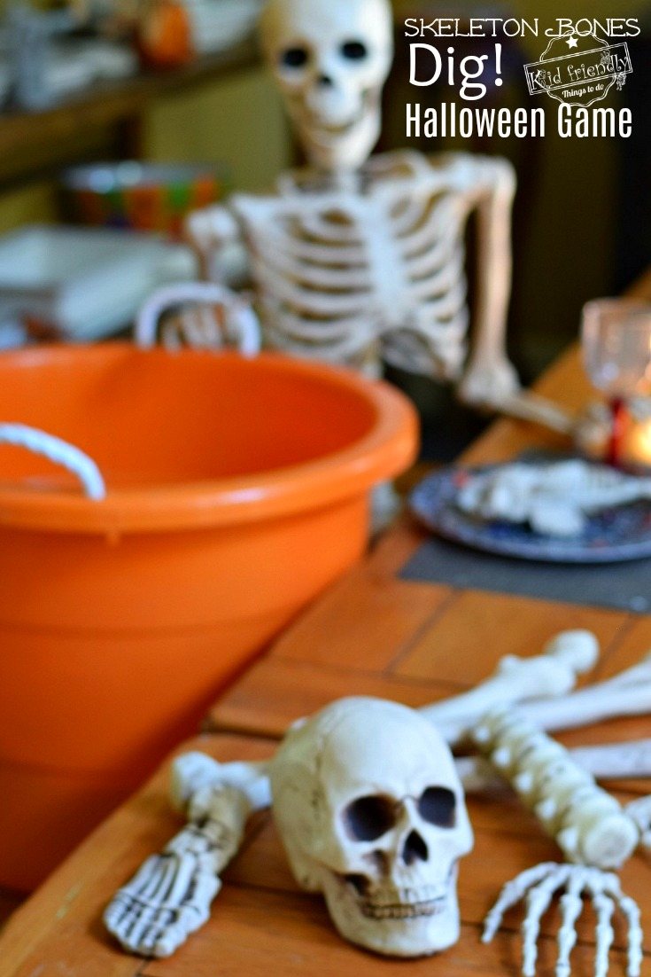 skeleton bones dig halloween game for kids to play