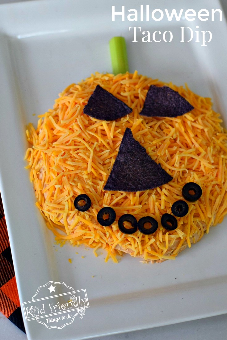 jack-o-lantern taco dip a fun halloween appetizer recipe | kid