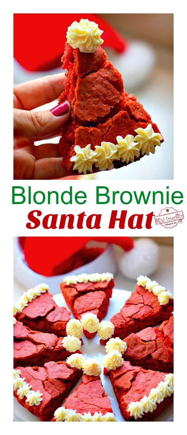 blonde brownie santa hat christmas treat diy