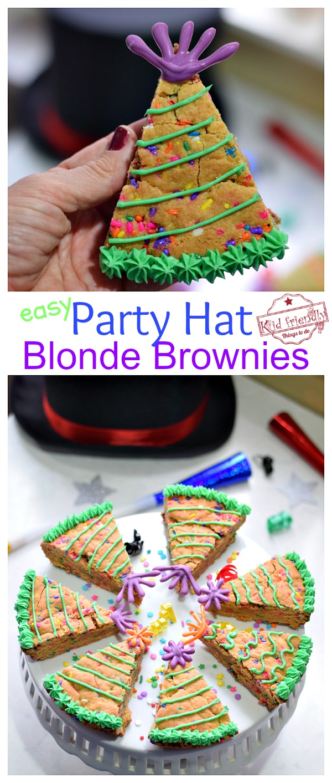 Easy Party Hat Blonde Brownie Dessert