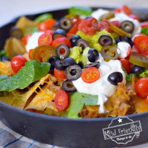Oven Baked Muchos Nachos with Beef and Re-fried Beans | Kid Friendly Things To Do