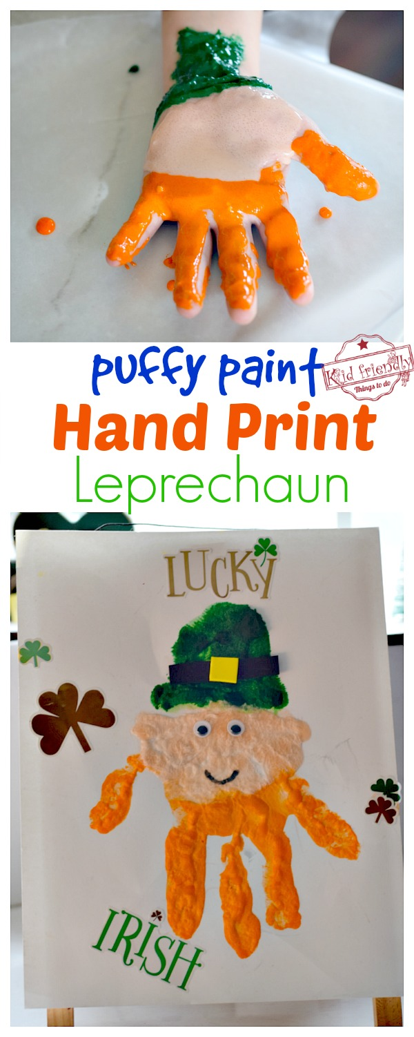 Puffy Paint Leprechaun Handprint craft for kids