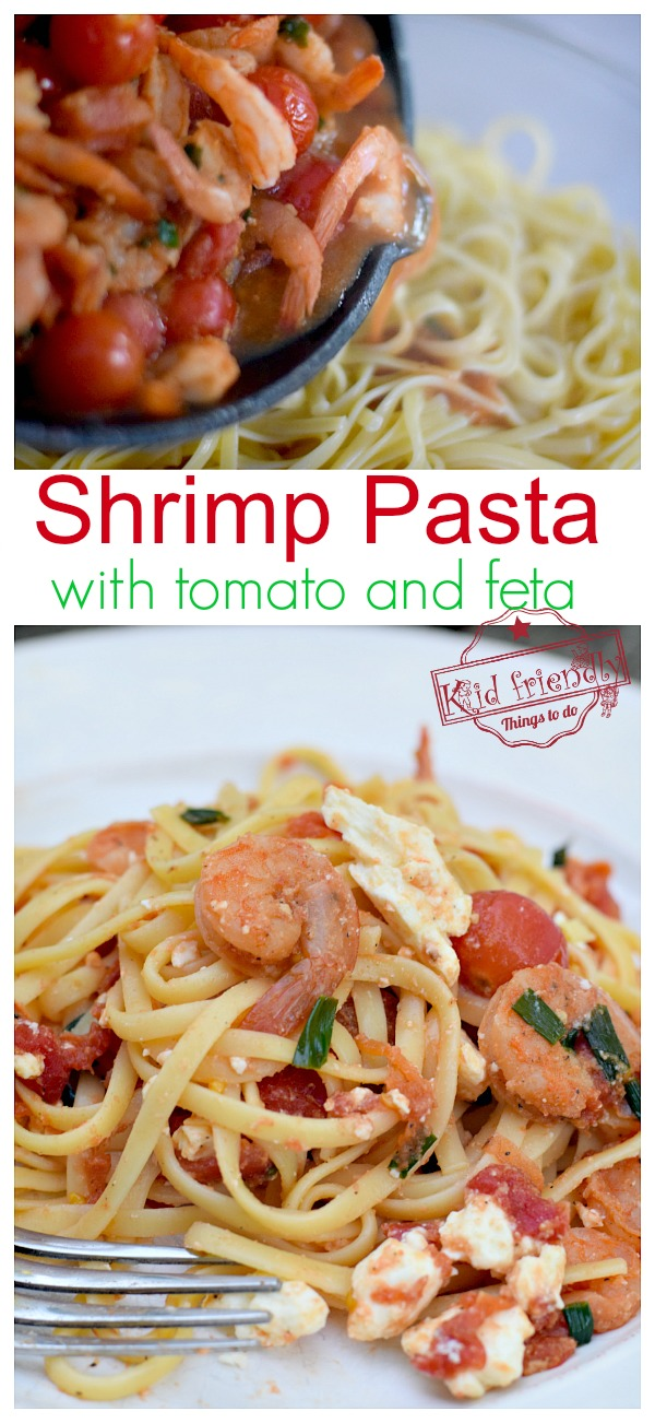 Easy Spicy Shrimp Pasta with Tomato and Feta Recipe