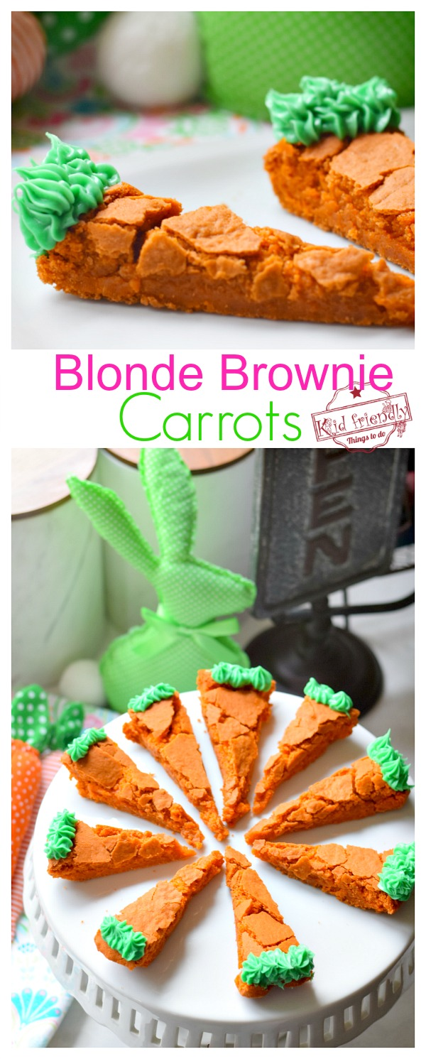blonde brownie carrot Easter fun treat for kids