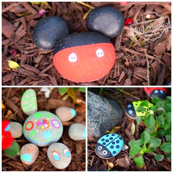 5 Rock Painting Ideas for Kids using Chalk Markers {Micky Mouse, Turtle, Ladybugs & more} | Kid Friendly Things To Do