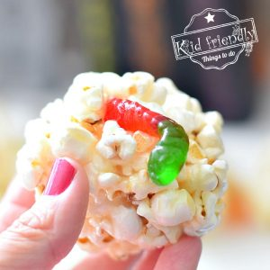 Gummy Worm Halloween Popcorn Balls  | Kid Friendly Things To Do