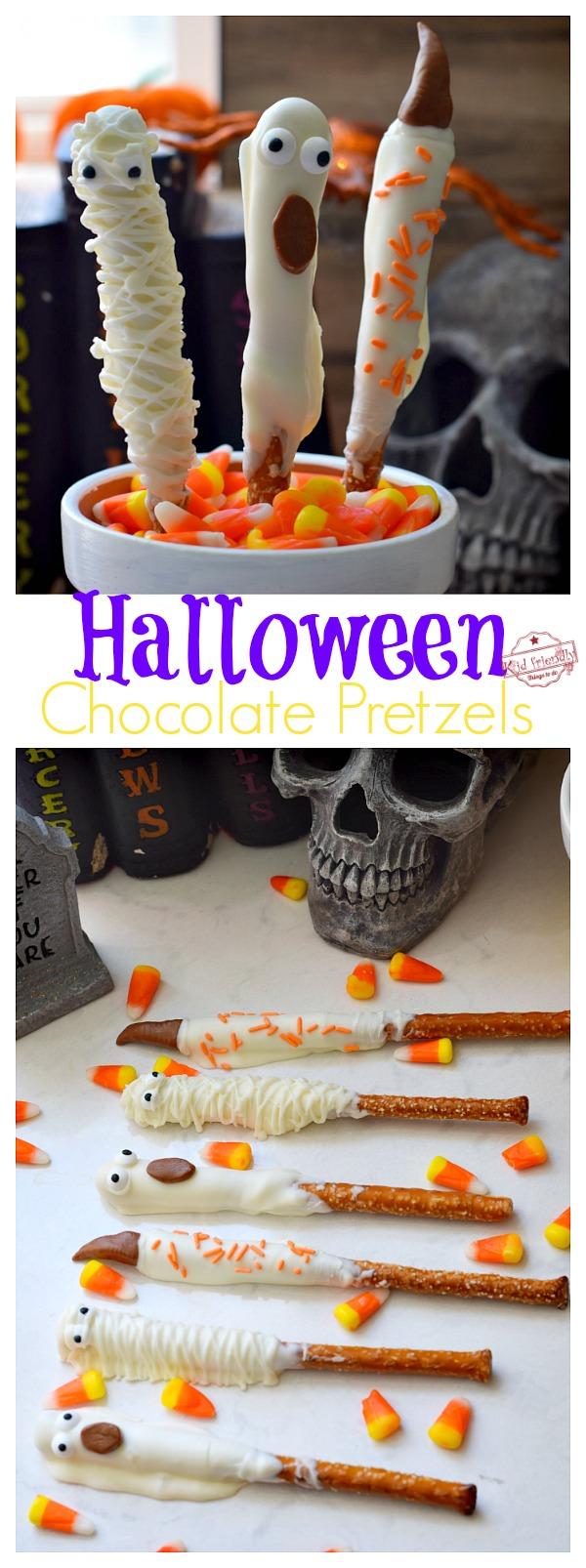 Witch, Ghost and Mummy Halloween Pretzels
