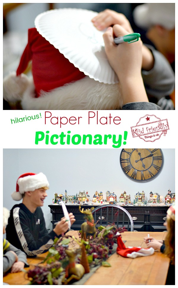Paper plate Pictionary family game idea
