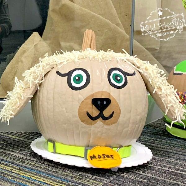 Dog Painted Pumpkin