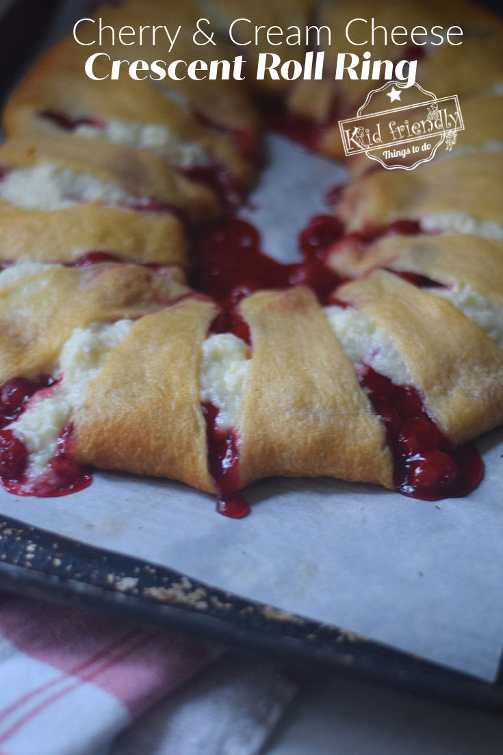 making a Cherry and Cream Cheese crescent roll ring
