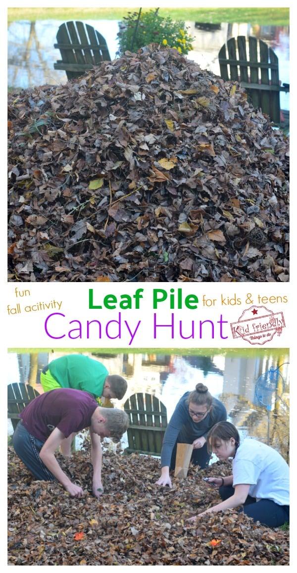 leaf pile candy hunt