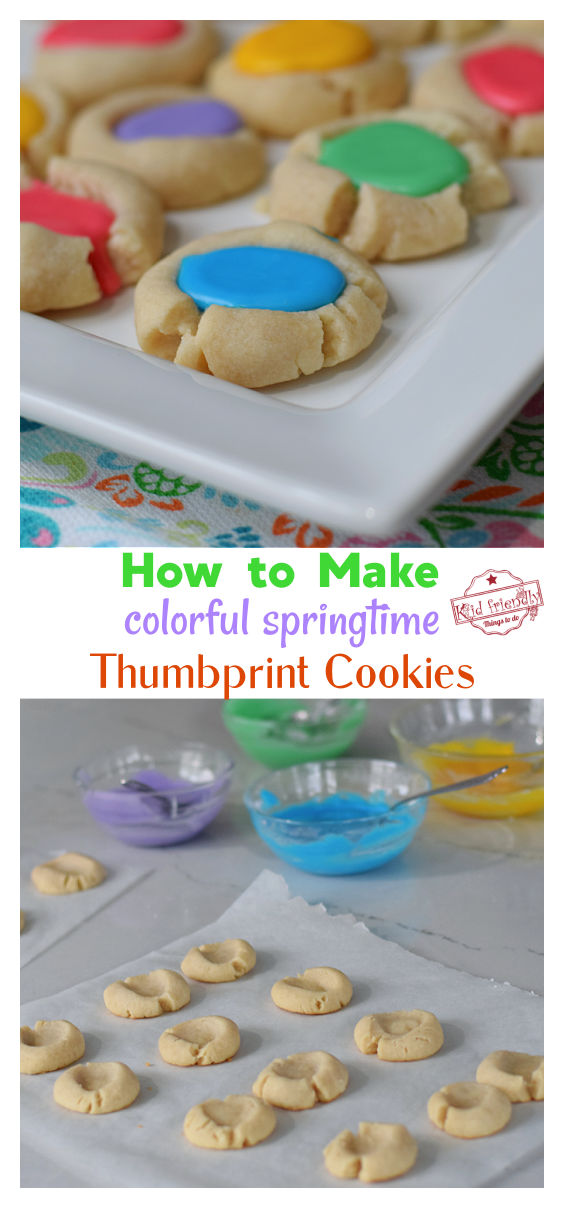 springtime iced thumbprint cookies