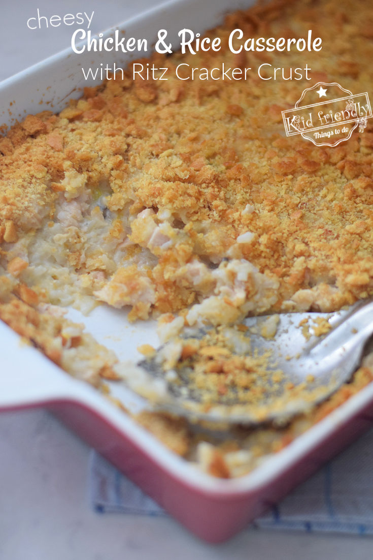 chicken and rice casserole with Ritz crackers