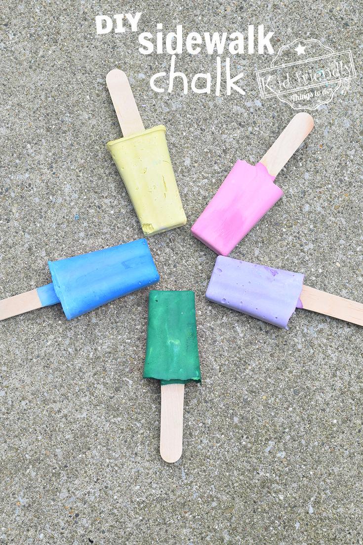 popsicle shaped homemade sidewalk chalk