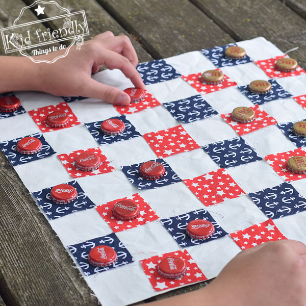 DIY Fabric Checkerboard {No Sew!} | Kid Friendly Things To Do